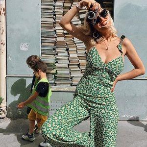 Zara PRINTED Green JUMPSUIT M